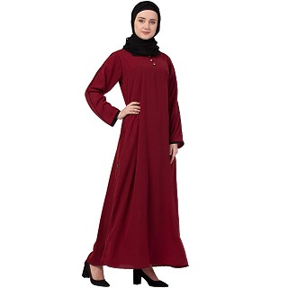 A-line abaya with piping at sleeves-Maroon-black