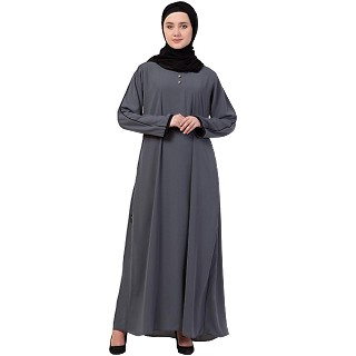A-line abaya with piping at sleeves-Grey-black