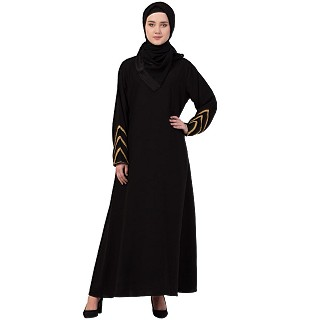 A-line abaya with golden lace at sleeves-Black-golden
