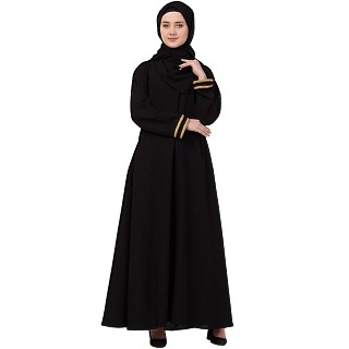 Casual abaya with golden lace at sleeves-Black-golden