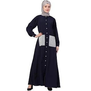 Front open abaya with white patch pocket- Navy Blue