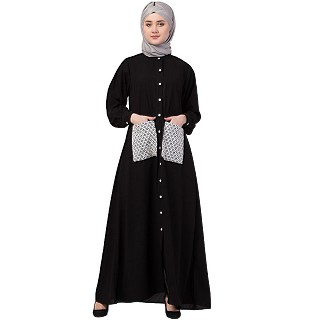 Front open abaya with white patch pocket- Black