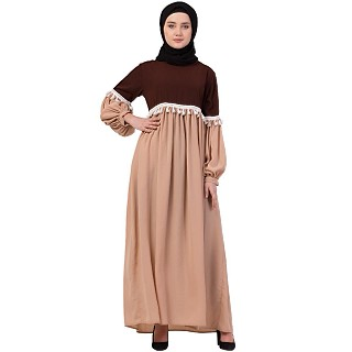Duel colored abaya with lace work-Brown-skin