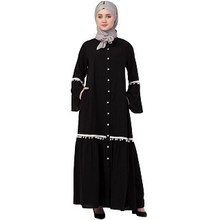 Front open abaya with Bell sleeves- Black
