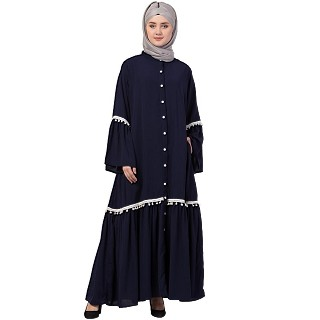 Front open abaya with Bell sleeves- Navy Blue