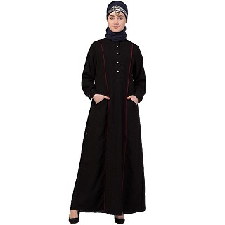 Designer abaya with piping on front-Black-red