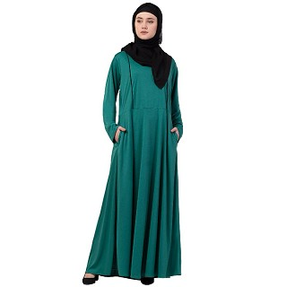 A-line abaya with piping on upper front-Green-black