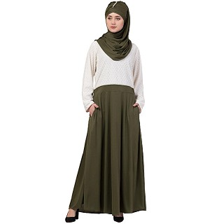 Duel colored skirt style abaya-Olive green-white