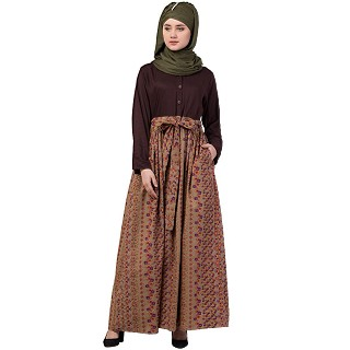 Duel colored skirt style abaya-Brown-printed