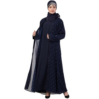 Dot printed double layered abaya-Navy blue