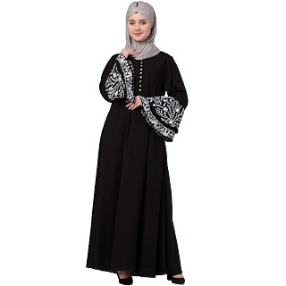Designer abaya with embroidered sleeves- Black and White