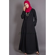 Asymmetrical Pleated abaya - Black