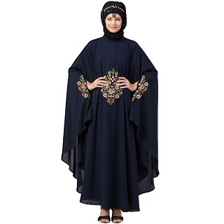 Designer Irani Kaftan with embroidery work- Navy blue