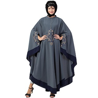 Embroidery Irani Kaftan with contrast border- Grey-Navy
