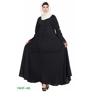 Umbrella abaya with embroidery patchwork- Black