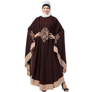 Embroidery Irani Kaftan with contrast border- Brown-Skin