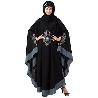 Embroidery Irani Kaftan with contrast border- Black-Grey