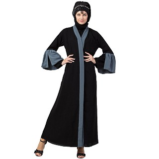 Front open abaya with contrast bell sleeves- Black-Grey