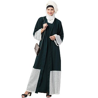 Double layered abaya with embroidered fabric- Green-White