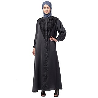 Premium Front open abaya with diamond beads- Grey