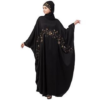 Nida kaftan abaya with premium handwork- Black