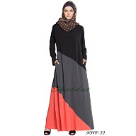 Asymmetrical panels abaya- Tricolor