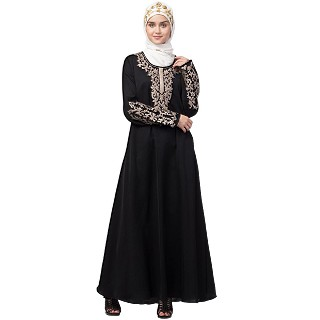 A-line abaya with Resham embroidery work- Black