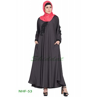 Umbrella abaya with embroidery patchwork- Grey