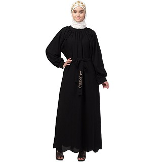 Elegant abaya with raglan sleeves- Black