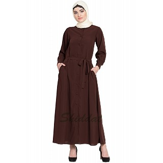 Front open casual abaya with belt- Brown