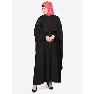 Classic cape abaya with bead work- Black