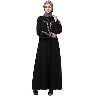 Embroidery abaya with balloon sleeves- Black