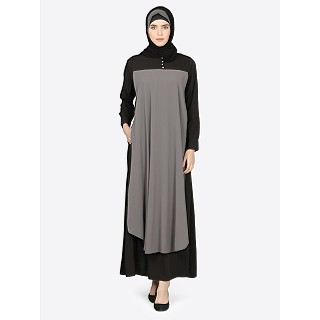 Layered Casual abaya- Black-Grey