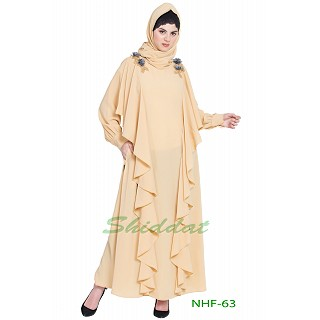 Frilled party wear abaya- Beige