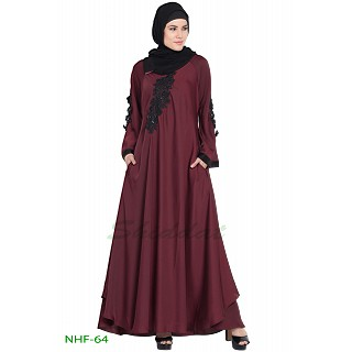 Umbrella abaya with embroidery patchwork- Maroon