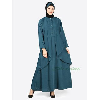 Casual elegant abaya- Teal color