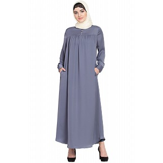 Casual pleated abaya- Grey