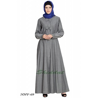 Front open Denim abaya