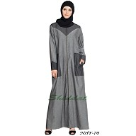 Front open Contrast Yoke pocket Denim Abaya