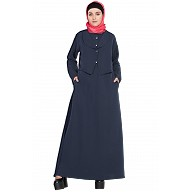Casual abaya with extra jacket- Navy-Blue