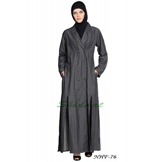 Front open Denim coat abaya- Dark Grey