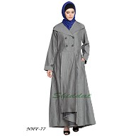 Front open pleated coat abaya- Silver Grey