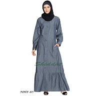 A-line Denim abaya with Frill at Bottom