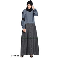 Denim Skirt Chambray abaya - Blue & Grey