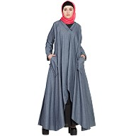 Denim abaya - Two piece frilled pocket Abaya