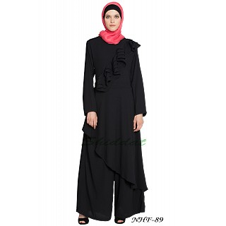 Frilled Executive Pant Abaya - Black
