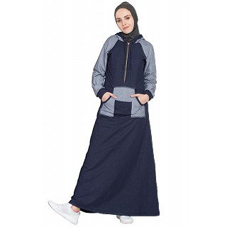 Sports  Abaya with hood jersey - Navy Blue