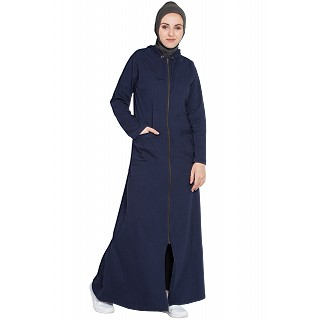 Front open hood travel abaya - Navy Blue