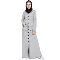 Front open Long cardigan Abaya -Silver Grey