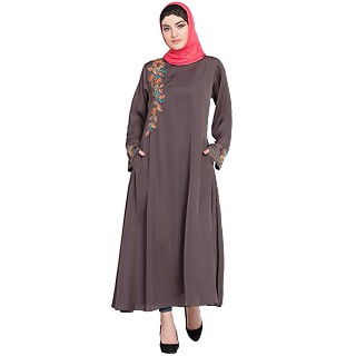 Designer embroidery abaya with bell sleeves- Plum Brown